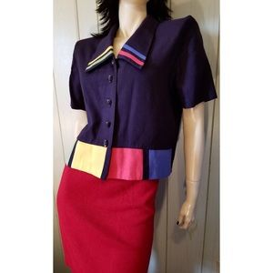 VTG 80s MOD New Wave Colorblock Buttondown Jacket